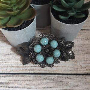 Huge Silver Turquoise Brooch